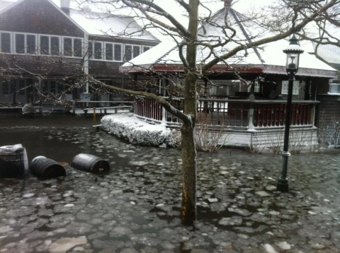 Coastal flooding inundates a gazebo on Nantucket Island, MA.  Photo courtesy of WCVB